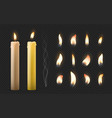 realistic burning candle 3d wax or paraffin vector image