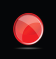 red glossy button on black vector image vector image