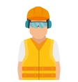 repairman character working with ear cap vector image