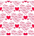 Retro seamless pattern Pink hearts and i love you vector image vector image