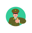 russian officer thumbs up and winks soldier happy vector image vector image