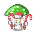 santa with candy green amanita mushroom mascot vector image vector image