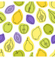 seamless fruit pattern apples pears vector image vector image