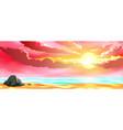 seascape sun beach sunset vector image vector image
