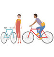 set a man and a woman with bicycles vector image