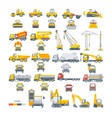set machinery asphalt machine vector image