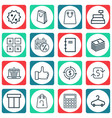 set of 16 commerce icons includes spiral notebook vector image vector image