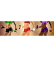 Set of three young sexy fitness women vector image vector image