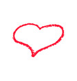 single red heart outline chalk icon for valentine vector image vector image