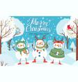 snowman cute funny snowmen in winter clothes vector image vector image