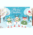snowman cute funny snowmen in winter clothes with vector image vector image