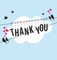 thank you with birds in sky vector image vector image