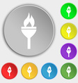 Torch icon sign Symbol on eight flat buttons vector image