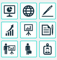 trade icons set with identification businessman vector image vector image