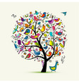 tree with birds sketch for your design vector image