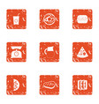 unhealthy diet icons set grunge style vector image vector image