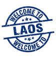 welcome to laos blue stamp vector image vector image