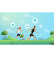 with running couple in flat vector image