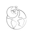 world planet earth with moon vector image vector image