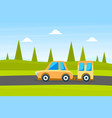 yellow car with trailer on summer landscape vector image