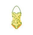 yellow halter swimsuit with natural pattern women vector image vector image