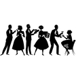 1950s party goers vector image vector image