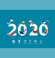 2020 new year soccer players in action on flat vector image vector image