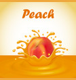 a splash of juice from a falling peach and drops vector image vector image