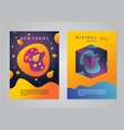 abstract posters with 3d elements geometric vector image vector image