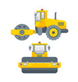 asphalt paver machine side view and front view vector image vector image