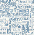background seamless tile of coffee words and vector image