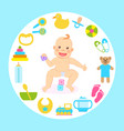 baencircled with toys and bottles for kids vector image vector image