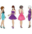 Beautiful girls in bright evening dresses 2 vector image vector image