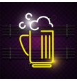 beer mug neon sign purple background image vector image