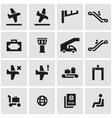 black airport icon set vector image vector image