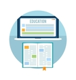 Book with laptop Education concept vector image vector image