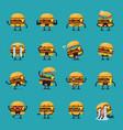 burger character emoji set vector image vector image
