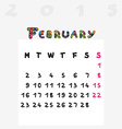 calendar 2015 february vector image vector image