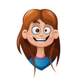 cartoon head girl funny smiley vector image vector image