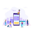 check-in concept with smartphone vector image vector image