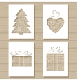 Christmas set of stencil templates on wooden vector image