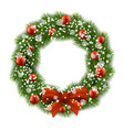 christmas wreath decorated balls vector image