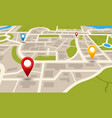 city map navigation plan with pointers location vector image vector image