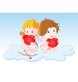 cupids sitting on cloud vector image