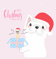 cute funny french bulldog with funny gift box vector image