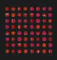 different abstract red snowflakes collection vector image vector image