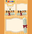 diploma and background template with kids on vector image vector image