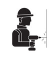 drilling wall worker black concept icon vector image vector image