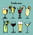 drinks menu hand sketched cocktails glasses vector image vector image
