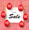 easter sale banner hanging 3d easter eggs vector image vector image